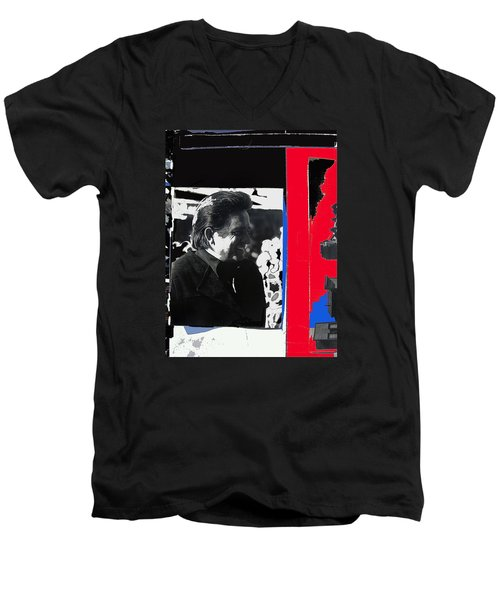 Men's V-Neck T-Shirt featuring the photograph Johnny Cash  Smiling Collage 1971-2008 by David Lee Guss