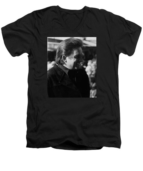 Men's V-Neck T-Shirt featuring the photograph Johnny Cash Smiling Old Tucson Arizona 1971 by David Lee Guss