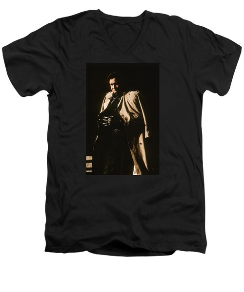 Men's V-Neck T-Shirt featuring the photograph Johnny Cash Trench Coat Variation  Old Tucson Arizona 1971 by David Lee Guss