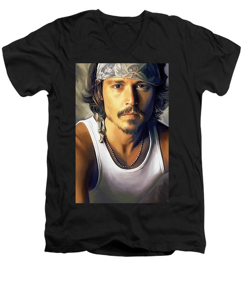 Johnny Depp Artwork Men's V-Neck T-Shirt by Sheraz A