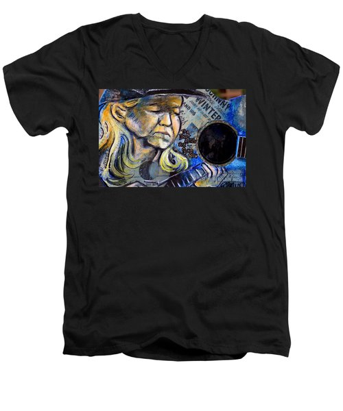 Johnny Winter Painted Guitar Men's V-Neck T-Shirt