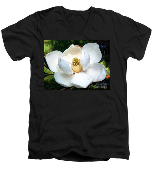 Men's V-Neck T-Shirt featuring the photograph John's Magnolia by Barbara Chichester