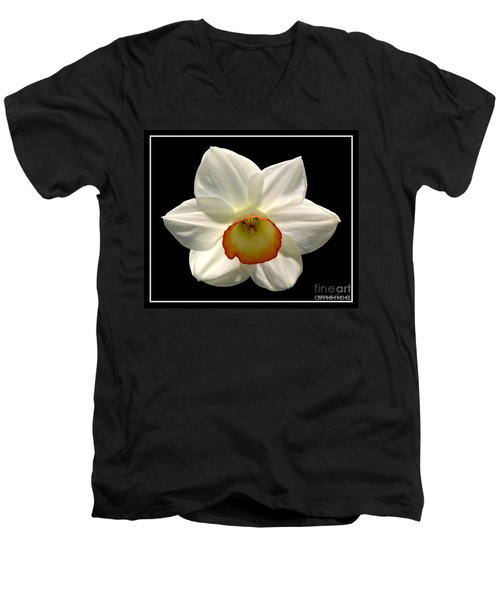 Men's V-Neck T-Shirt featuring the photograph Jonquil 1 by Rose Santuci-Sofranko