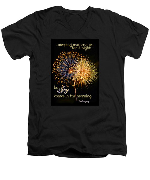 Men's V-Neck T-Shirt featuring the photograph Joy In The Morning by Larry Bishop
