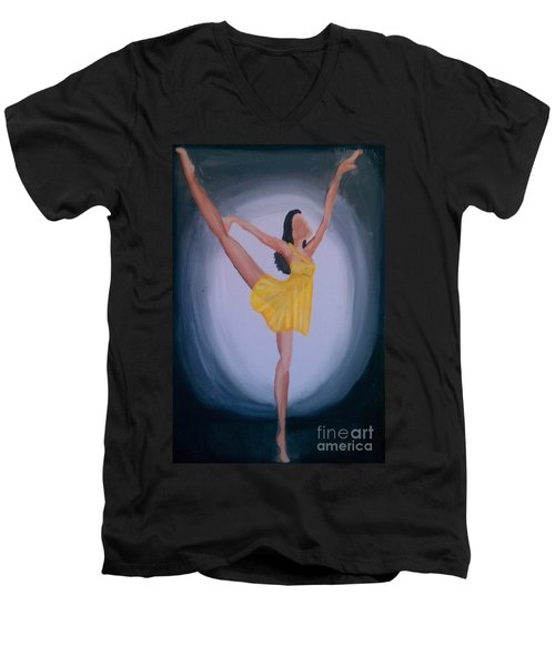 Men's V-Neck T-Shirt featuring the painting Joy by Marisela Mungia