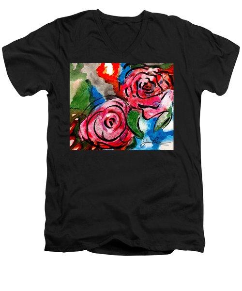 Juicy Red Roses Men's V-Neck T-Shirt