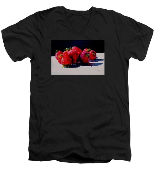 Men's V-Neck T-Shirt featuring the painting Juicy Strawberries by Sher Nasser