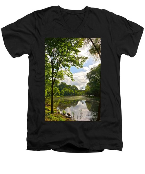 July Fourth Duck Pond With Goose Men's V-Neck T-Shirt