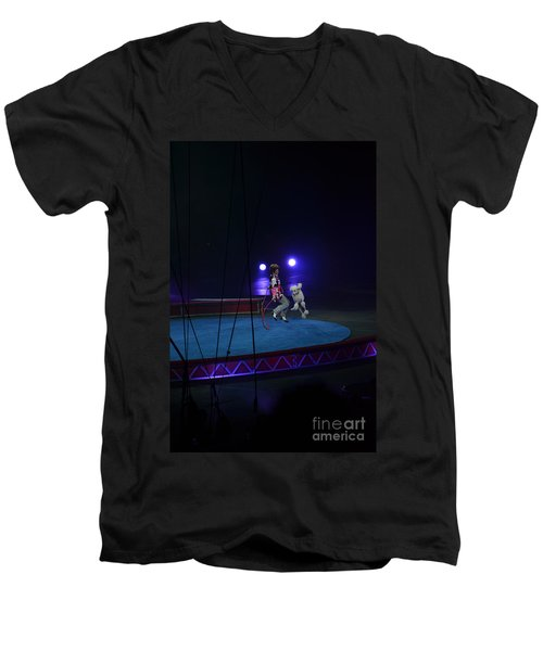 Men's V-Neck T-Shirt featuring the photograph Jumprope With Fido by Robert Meanor