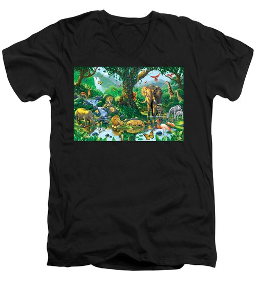 Jungle Harmony Men's V-Neck T-Shirt by Chris Heitt