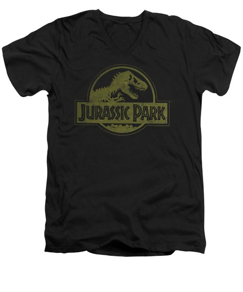 Jurassic Park - Distressed Logo Men's V-Neck T-Shirt