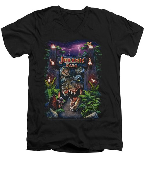 Jurassic Park - Welcome To The Park Men's V-Neck T-Shirt by Brand A