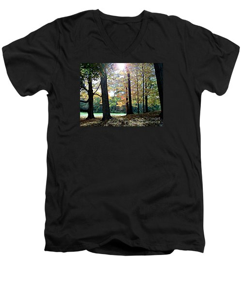 Just A Glimpse Of Sunlight Men's V-Neck T-Shirt by Rita Brown