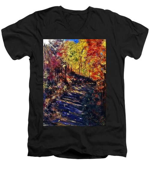 Men's V-Neck T-Shirt featuring the painting Just The Sound Of The Forest... by Cristina Mihailescu