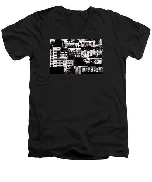 Men's V-Neck T-Shirt featuring the photograph Black And White - Juxtaposed And Intimate Vancouver View At Night - Fineart Cards by Amyn Nasser
