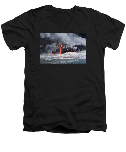 Lava Falls At Kalapana Men's V-Neck T-Shirt by Venetia Featherstone-Witty