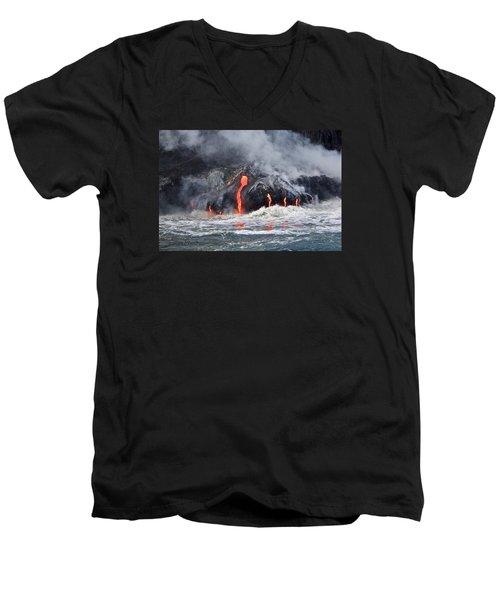 Lava Falls At Kalapana Men's V-Neck T-Shirt