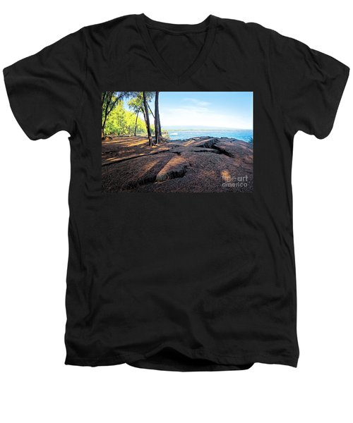 Men's V-Neck T-Shirt featuring the photograph Kaloli Point 3 by Ellen Cotton