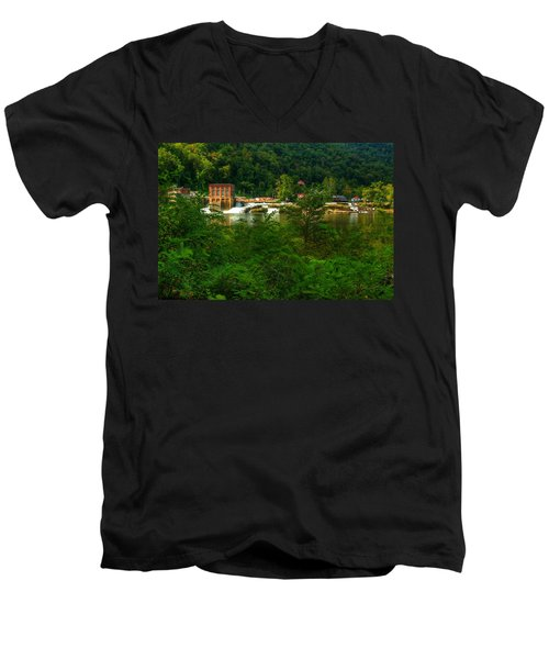 Men's V-Neck T-Shirt featuring the photograph Kanawha Falls by Dave Files