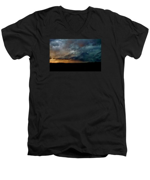 Men's V-Neck T-Shirt featuring the photograph Kansas Tornado At Sunset by Ed Sweeney