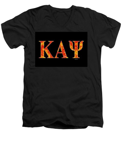 Men's V-Neck T-Shirt featuring the digital art Kappa Alpha Psi - Black by Stephen Younts