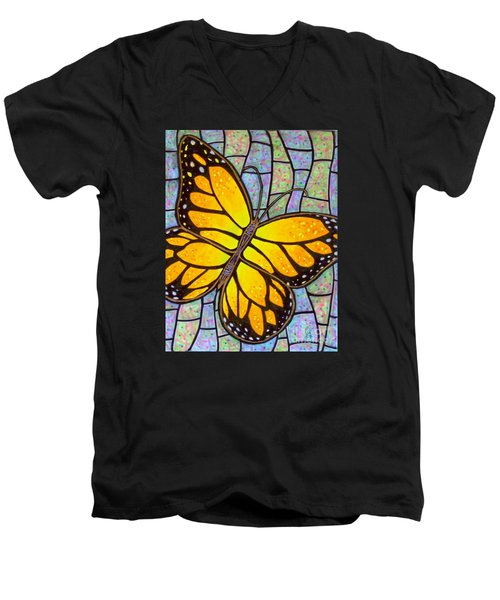 Men's V-Neck T-Shirt featuring the painting Karens Butterfly by Jim Harris