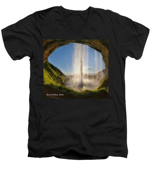 Men's V-Neck T-Shirt featuring the painting Karen's Waterfalls by Bruce Nutting