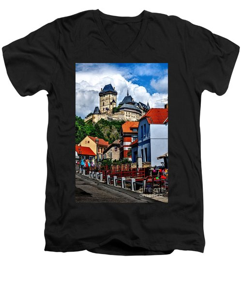 Karlstejn Castle In Prague  Men's V-Neck T-Shirt