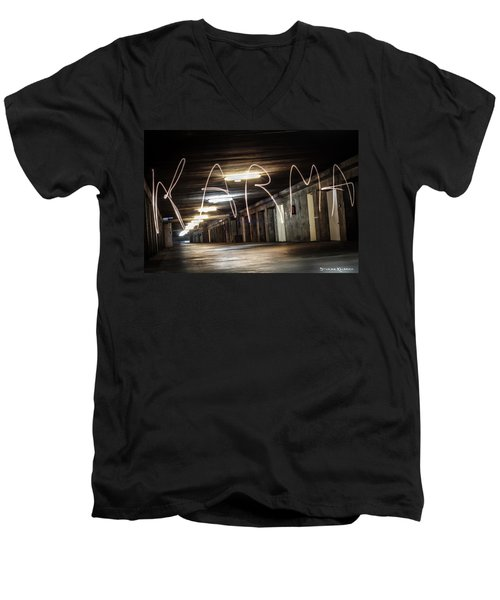 Men's V-Neck T-Shirt featuring the photograph Karma Light Painting by Stwayne Keubrick