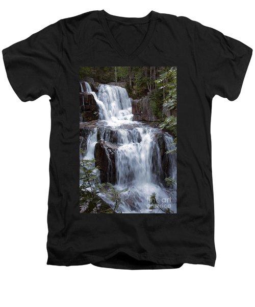 Katahdin Stream Falls Baxter State Park Maine Men's V-Neck T-Shirt by Glenn Gordon