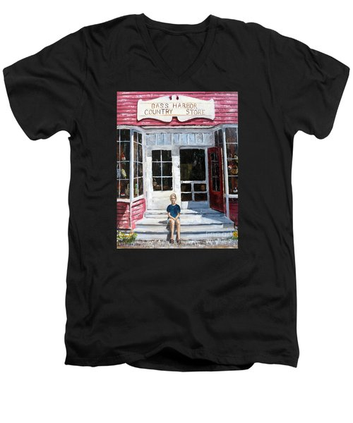 Men's V-Neck T-Shirt featuring the painting Katie At Bass Harbor Maine by Lee Piper