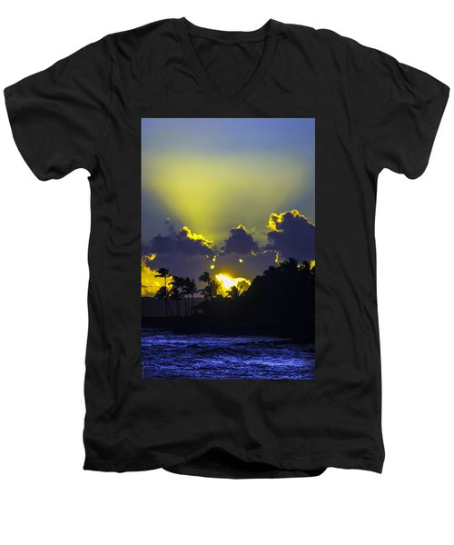 Kauai Sunset Men's V-Neck T-Shirt by Debbie Karnes