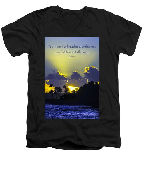 Kauai Sunset Psalm 36 5 Men's V-Neck T-Shirt by Debbie Karnes