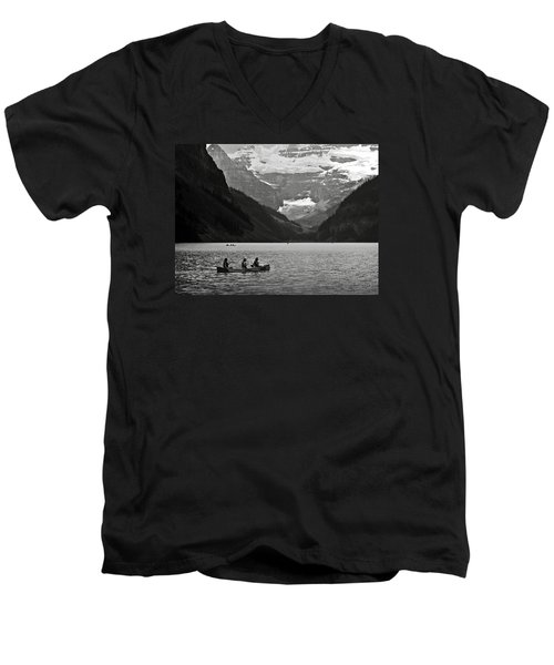 Kayak On Lake Louise Men's V-Neck T-Shirt