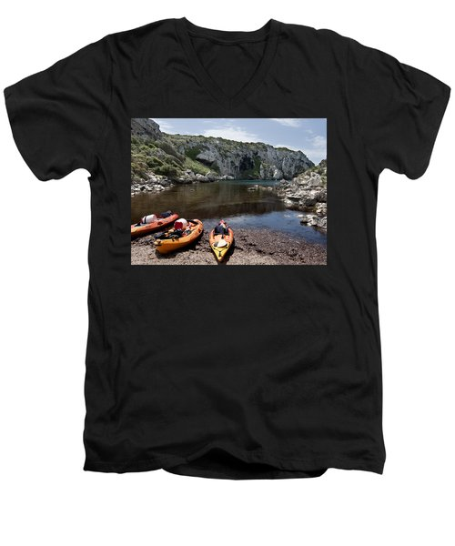 Kayak Time - The Landscape Of Cales Coves Menorca Is A Great Place For Peace And Sport Men's V-Neck T-Shirt by Pedro Cardona