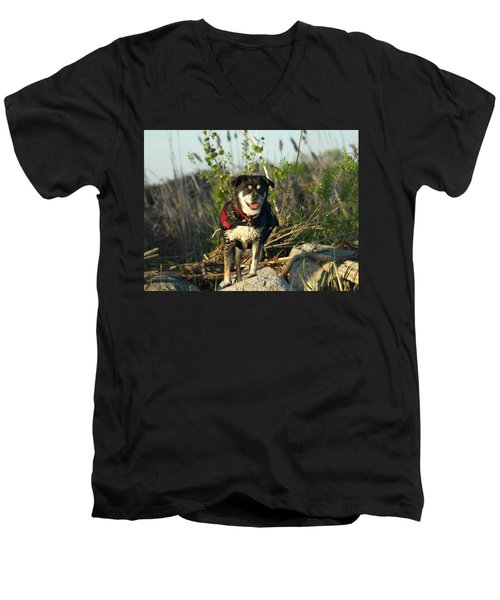 Men's V-Neck T-Shirt featuring the photograph Kayaker's Best Friend by James Peterson
