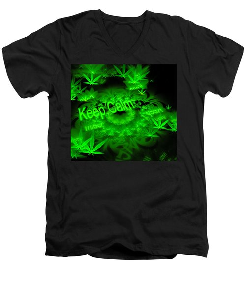 Keep Calm - Green Fractal Weed Art Men's V-Neck T-Shirt
