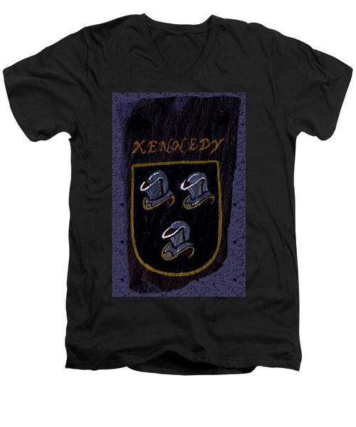 Men's V-Neck T-Shirt featuring the painting Kennedy Crest by Barbara McDevitt