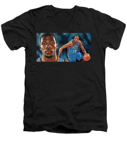 Kevin Durant Artwork Men's V-Neck T-Shirt by Sheraz A