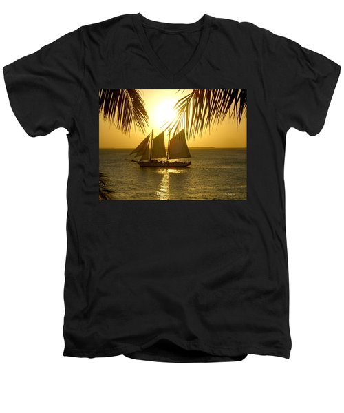 Men's V-Neck T-Shirt featuring the photograph Key West Sunset by Joan  Minchak