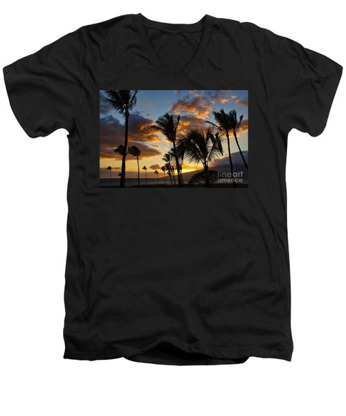 Kihei At Dusk Men's V-Neck T-Shirt by Peggy Hughes