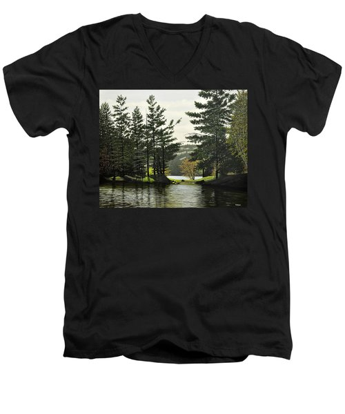 Men's V-Neck T-Shirt featuring the painting Killarney by Kenneth M  Kirsch