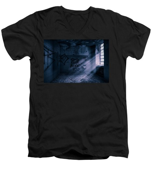 Men's V-Neck T-Shirt featuring the photograph Killer Behind You - Abandoned Hospital Asylum by Gary Heller