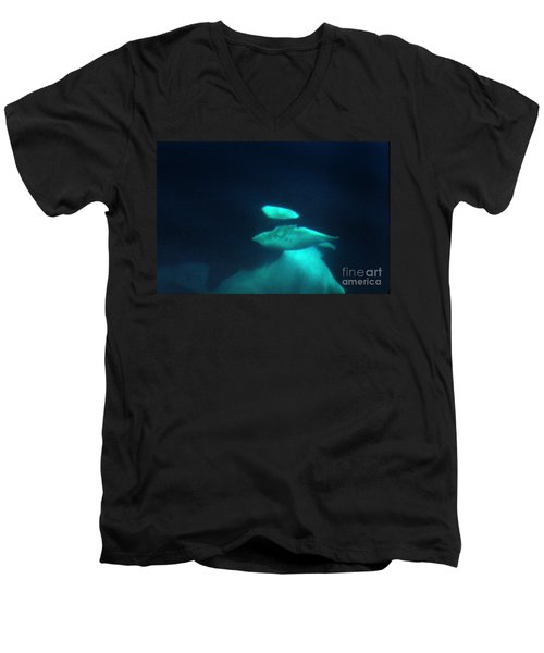 Men's V-Neck T-Shirt featuring the photograph Killer Whales Orcas Under Water  Off The San Juan Islands 1986 by California Views Mr Pat Hathaway Archives