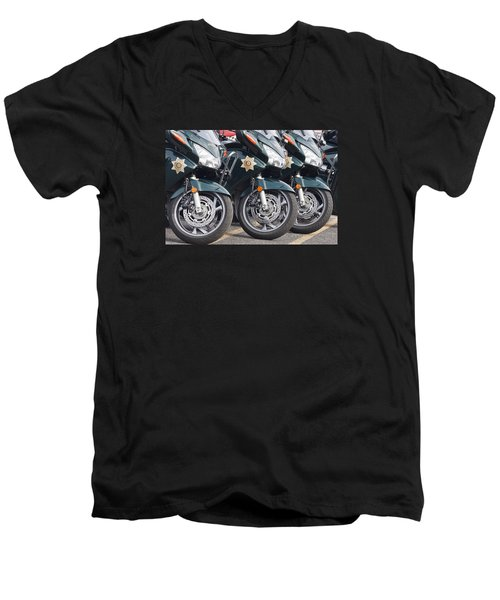 King County Police Motorcycle Men's V-Neck T-Shirt