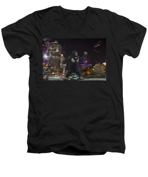 Men's V-Neck T-Shirt featuring the photograph King Kong On Jefferson St In Detroit by Nicholas  Grunas
