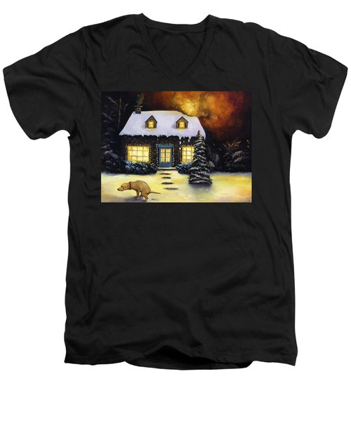 Kinkade's Worst Nightmare Men's V-Neck T-Shirt by Leah Saulnier The Painting Maniac