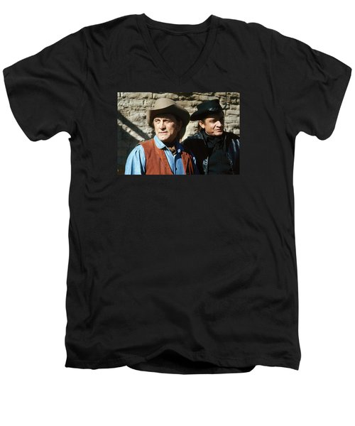 Men's V-Neck T-Shirt featuring the photograph Kirk Douglas Johnny Cash A Gunfight  Old Tucson Arizona 1971 by David Lee Guss