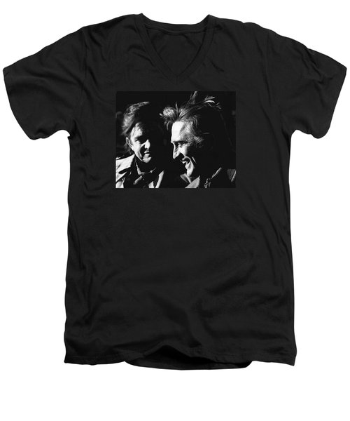 Men's V-Neck T-Shirt featuring the photograph Kirk Douglas Laughing Johnny Cash Old Tucson Arizona 1971 by David Lee Guss