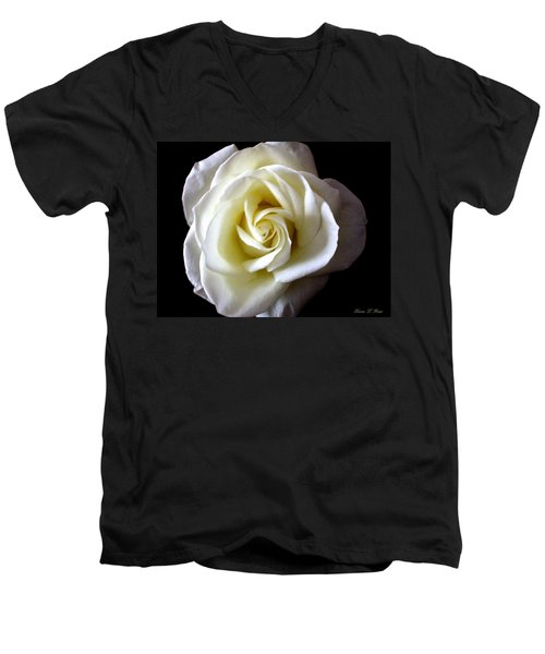 Men's V-Neck T-Shirt featuring the photograph Kiss Of A Rose by Shana Rowe Jackson